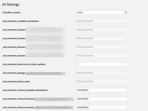 All options page in WordPress admin area