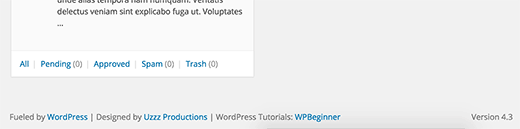Custom WordPress admin area footer