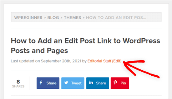 example edit post link on front-end of WordPress blog post