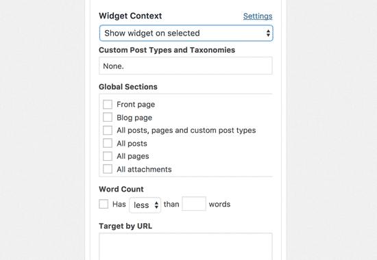 Widget Context settings