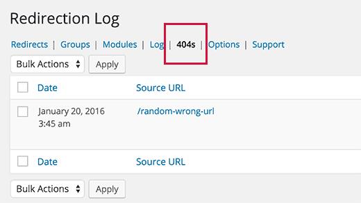 Track 404 errors in WordPress with Redirection plugin