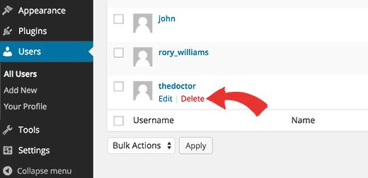Deleting a user in WordPress