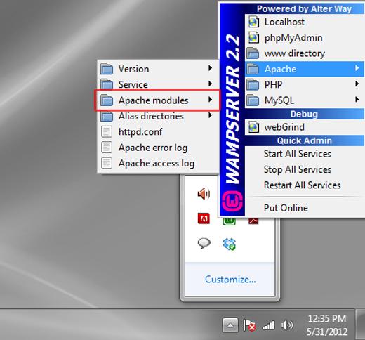 WAMP Apache Modules