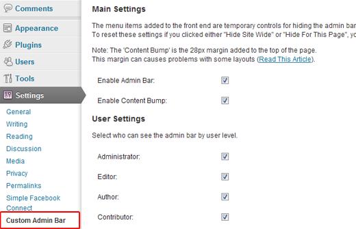 WP Custom Admin Bar Settings