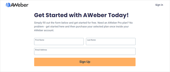 Enter your name and email address to get started with AWeber's free plan