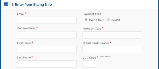 Enter your name, address, and billing information for HostGator