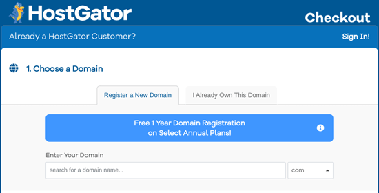 Choose your free domain name