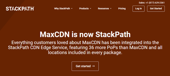 The StackPath homepage, explaining that MaxCDN is now StackPath