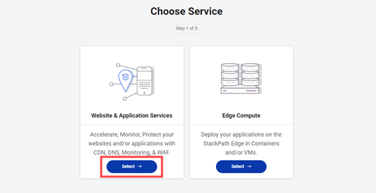 Choose the Website and Application Services option