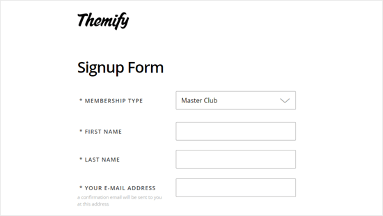 Enter your details to create your Themify account