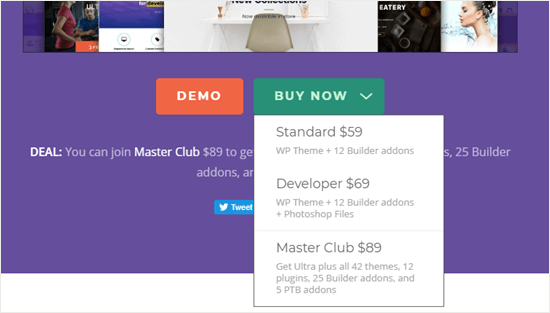 The 'Buy now' button will give you a drop down menu where you can choose your plan