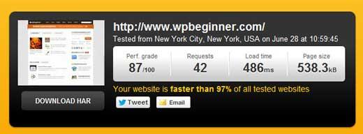 WPBeginner Speed Screenshot of Pingdom
