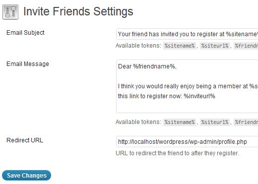 Invite Friends Settings