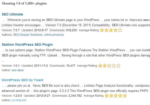 SEO Plugin Search Result