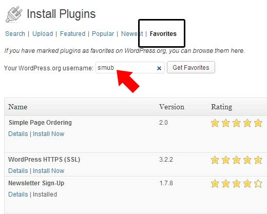 Favorites Plugin in WP Admin