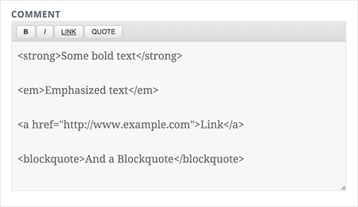 WordPress comment form with basic quicktag buttons