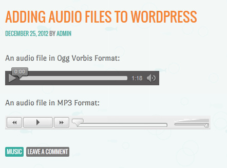 MP3 and Ogg Audio Files Embed in WordPress