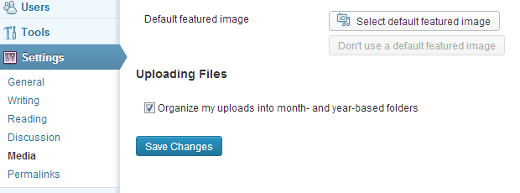 upload a default featured image in Media Settings