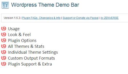 Theme Demo Bar WordPress plugin settings page