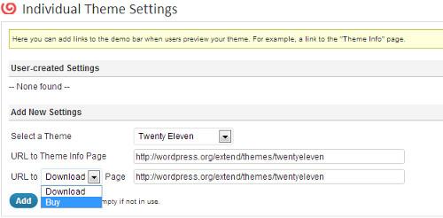 theme demo bar individual theme settings