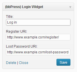 bbPress log in widget settings