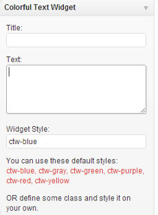 Colorful text widget options
