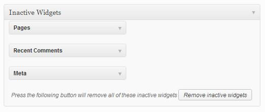 Removing inactive widgets in WordPress