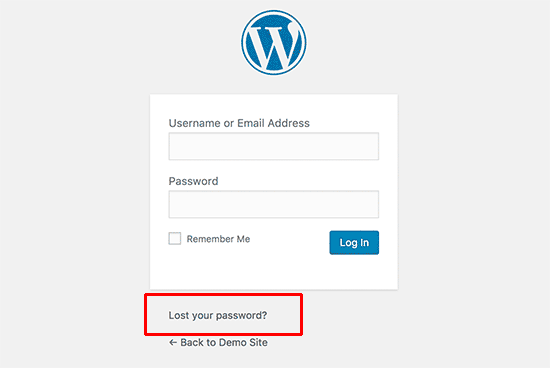 Lost your password link on WordPress login screen