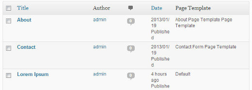 Showing page template names in WordPress Dashboard