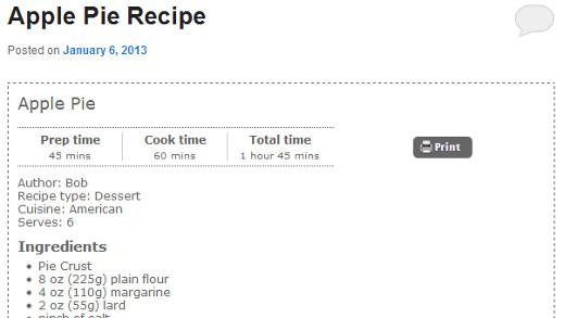 Recipe display style