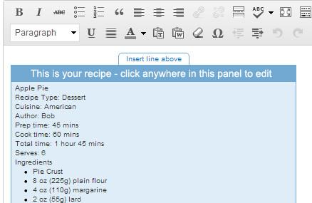 Recipe in Post Editor