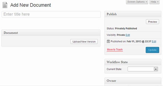 Adding a new document to the document management system