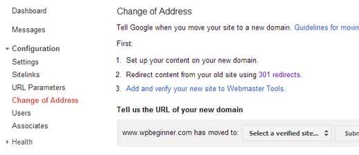 Google Webmaster Tools Change of Address