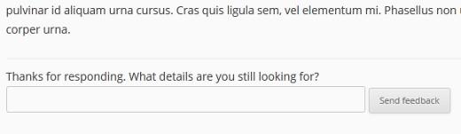 Feedback message box when a user clicked No