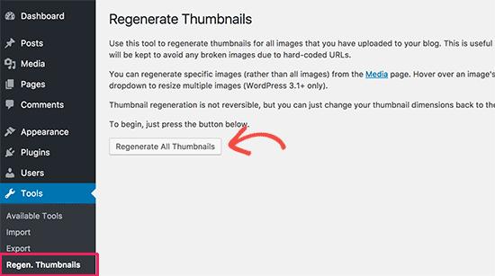 Renerate all thumbnails in WordPress