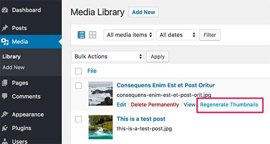 Régénérer les tailles d'image pour certaines images