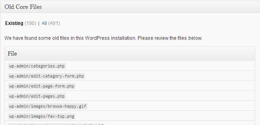 Listing old WordPress core files