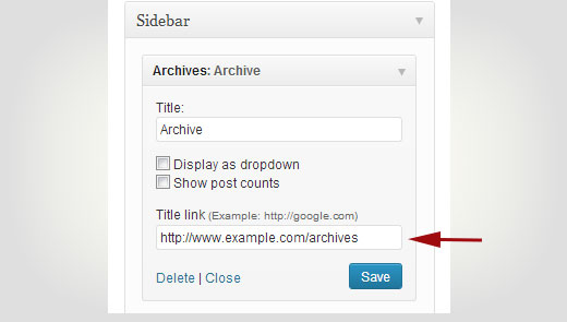 Adding link to a widget title