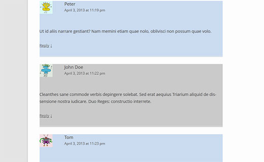 Using CSS to add alternate colors for even and odd comments in WordPress