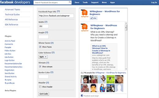 Getting the code to manually add Facebook like box in WordPress