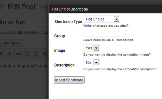 Insert shortcode using hot or not shortcode generator