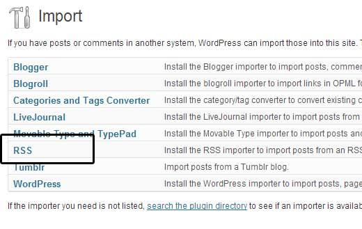WordPress RSS Importer