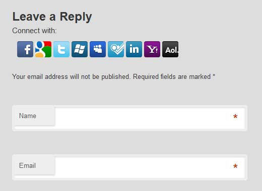Social Login Screenshot