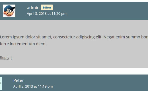 Styling aurhor comments differently in WordPress comments