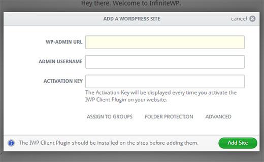 Adding your WordPress site to InfiniteWP