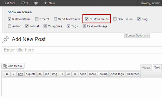 Enabling custom fields meta box in WordPress Post Edit screen