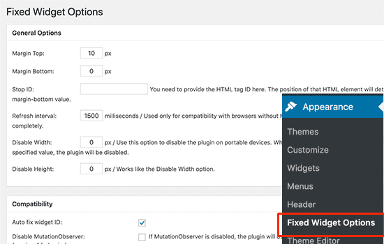 Fixed widget options