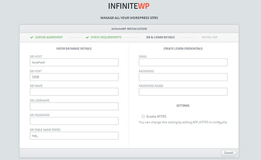 Enter your database and login details to continue installation