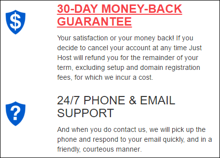 Just Host guarantees