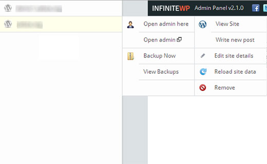 Managing WordPress sites from InfiniteWP